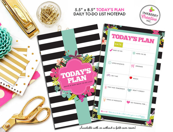 To Do List Notepad - Today's Plan - Premium Daily Planner Notepad - Black and White Striped Floral - inkberrycards