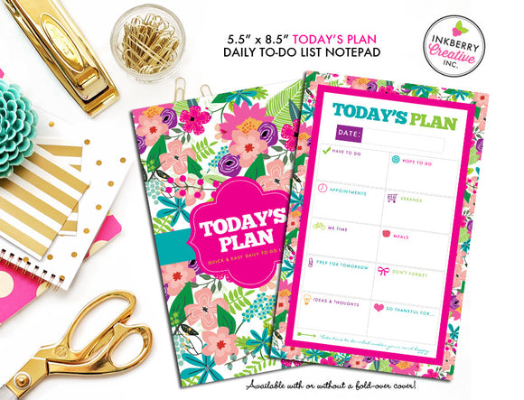 To Do List Notepad - Today's Plan - Premium Daily Planner Notepad - Summer Wildflower - inkberrycards