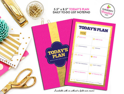 To Do List Notepad - Today's Plan - Premium Daily Planner Notepad - Gold, Pink and Navy - inkberrycards