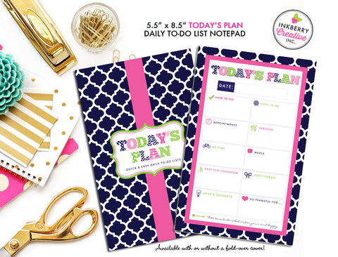 To Do List Notepad - Today's Plan - Premium Daily Planner Notepad - Preppy Patterns (Navy, Pink and Green)