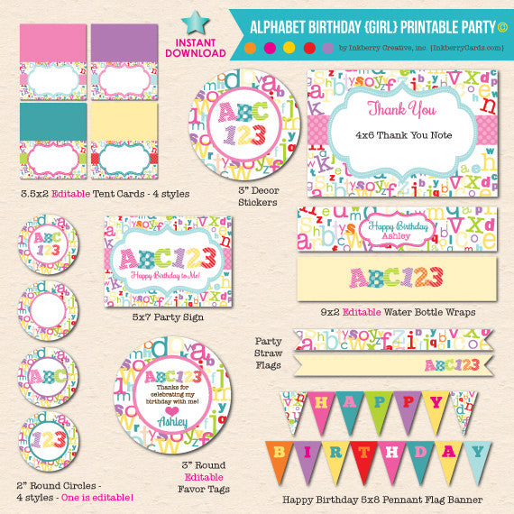 ABC123 Girl's Alphabet Birthday - DIY Printable Party Pack - inkberrycards