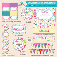 ABC123 Girl's Alphabet Birthday - DIY Printable Party Pack