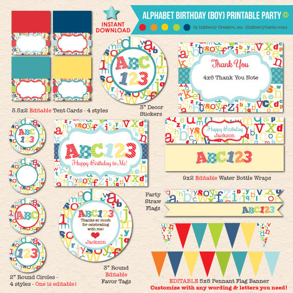 ABC123 Boy's Alphabet Birthday - DIY Printable Party Pack - inkberrycards
