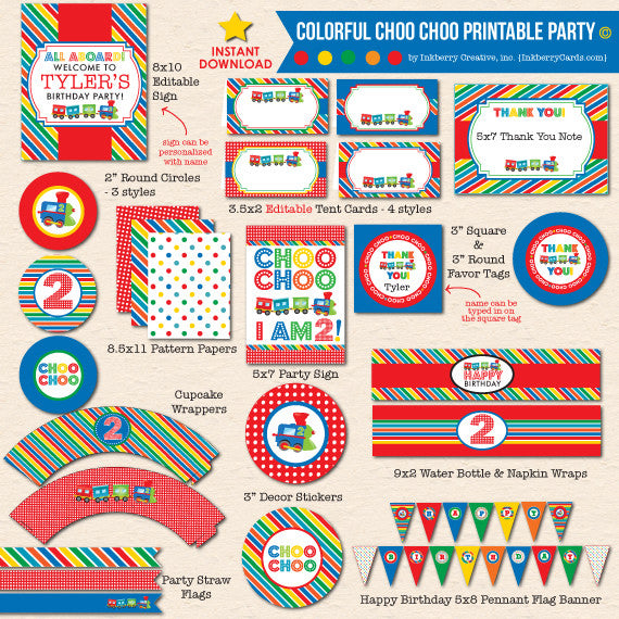 Colorful Choo Choo Train 2nd Birthday - DIY Printable Party Pack
