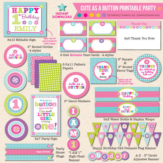 Cute as a Button First Birthday - DIY Printable Party Pack