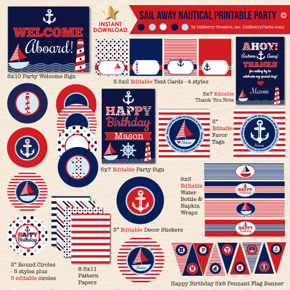 Sail Away Nautical Navy & Red Birthday - DIY Printable Party Pack