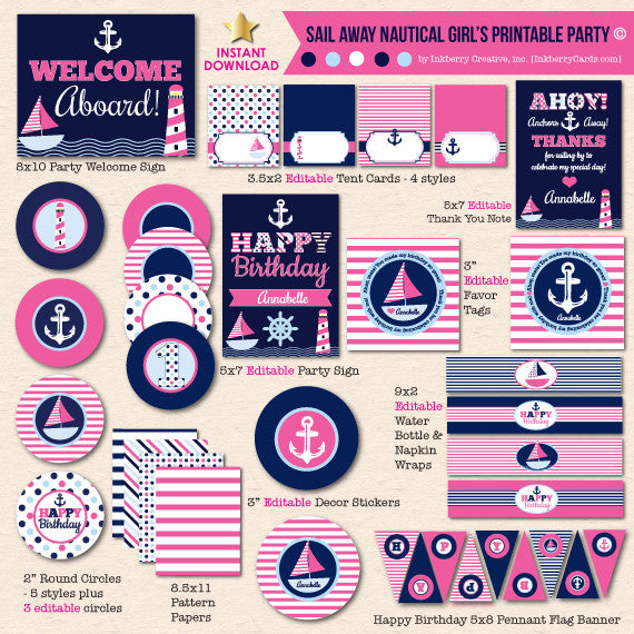 Sail Away Nautical Girl's Birthday - DIY Printable Party Pack - inkberrycards