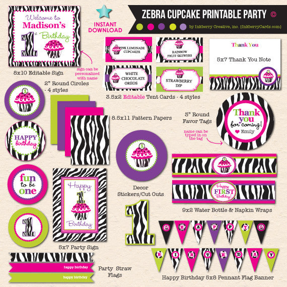 Zebra Cupcake First Birthday Party - DIY Printable Party Pack