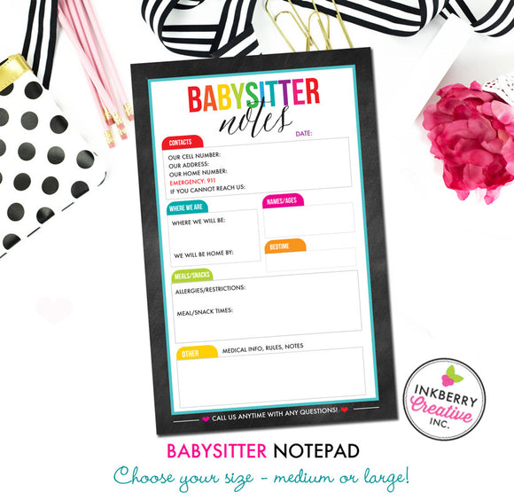 Babysitter Notepad - Color Tab Grid - 2 Sizes Available - inkberrycards