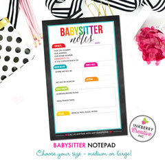 Babysitter Notepad - Color Tab Grid - 2 Sizes Available