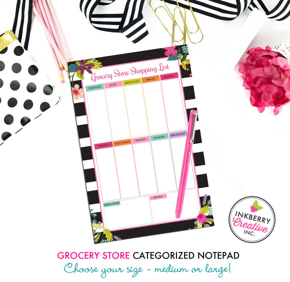Grocery Shopping List Notepad - Black and White Striped Floral - 2 Sizes Available