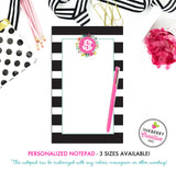 Personalized Notepad - Black and White Striped Floral - 3 Sizes Available - Small, Medium or Large - Customized with name, monogram or colors
