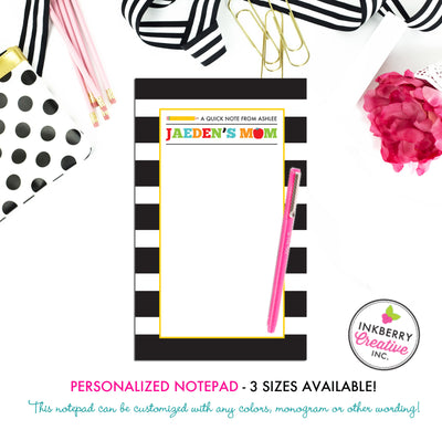 Personalized Notepad - School Days - 3 Sizes Available - Small, Medium or Large - Customized with name, monogram or colors - inkberrycards