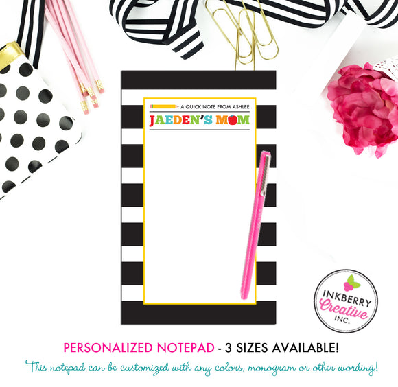 Personalized Notepad - School Days - 3 Sizes Available - Small, Medium or Large - Customized with name, monogram or colors