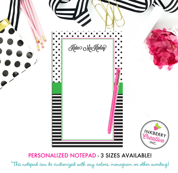 Personalized Notepad - Preppy Dot Stripe - 3 Sizes Available - Small, Medium or Large - Customized with name, monogram or colors