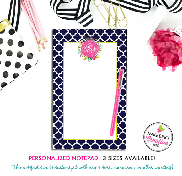 Personalized Notepad - Quatrefoil Floral - 3 Sizes Available - Small, Medium or Large - Customized with name, monogram or colors - inkberrycards