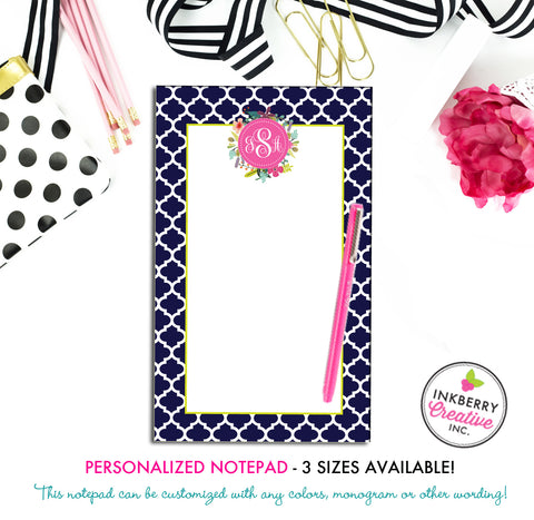 Personalized Notepad - Quatrefoil Floral - 3 Sizes Available - Small, Medium or Large - Customized with name, monogram or colors