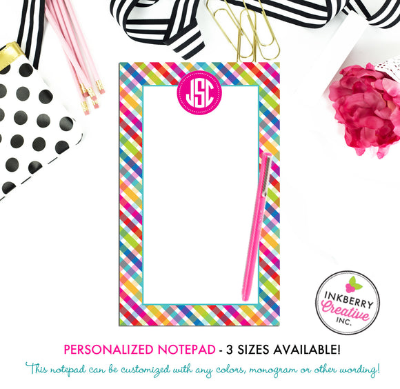 Personalized Notepad - Bright Summer Plaid - 3 Sizes Available - Small, Medium or Large - Customized with name, monogram or colors - inkberrycards