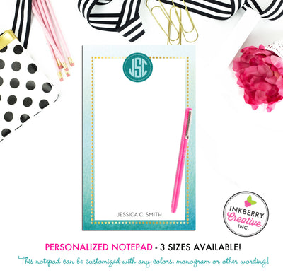 Personalized Notepad - Watercolor Wash - 3 Sizes Available - Small, Medium or Large - Customized with name, monogram or colors - inkberrycards