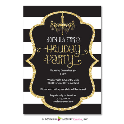 Black White Stripe Gold Glitter Holiday Party Invitation - inkberrycards
