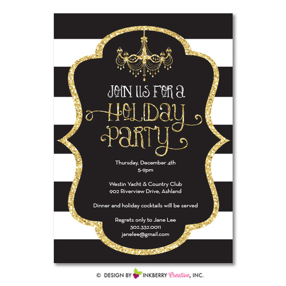 Black White Stripe Gold Glitter Holiday Party Invitation