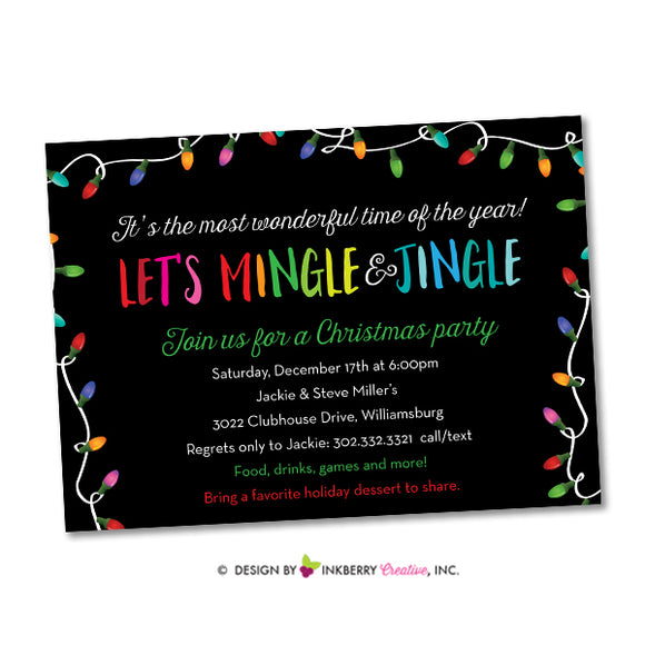 Merry Mingle and Jingle Christmas Lights Invitation (Black) - inkberrycards