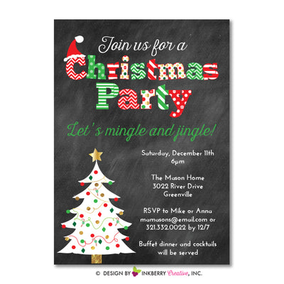 Chalkboard Christmas Tree Christmas Party Invitation