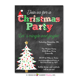 Chalkboard Christmas Tree Christmas Party Invitation - inkberrycards