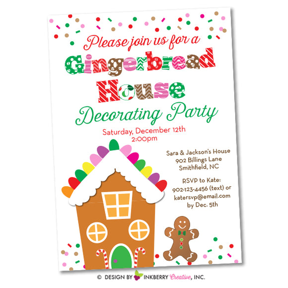 Christmas Gingerbread House Decorating Party Invitation - inkberrycards
