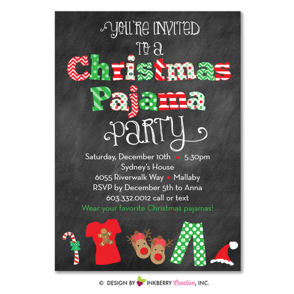 Chalkboard Style Christmas Pajama Party Invitation
