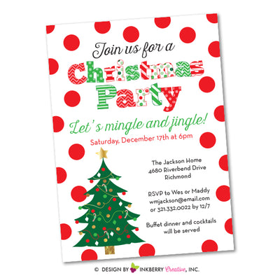 Festive Polka Dot Christmas Party Invitation - inkberrycards