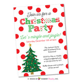 Festive Polka Dot Christmas Party Invitation