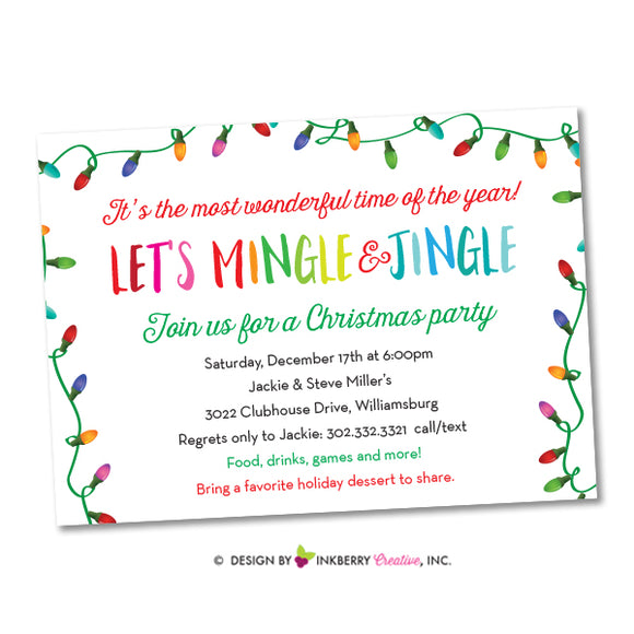 Merry Mingle and Jingle Christmas Lights Invitation (White) - inkberrycards