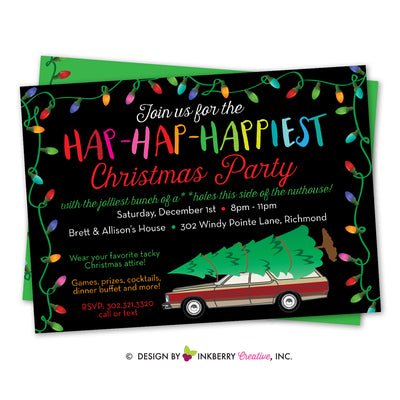 Hap Hap Happiest Christmas Party - Christmas Vacation Movie Theme Party Invitation - inkberrycards