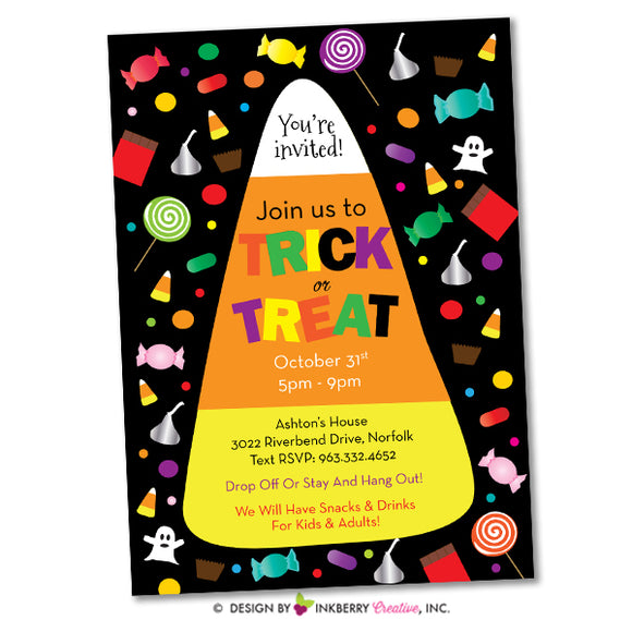 Halloween Candy Corn Trick or Treat Invitation - inkberrycards
