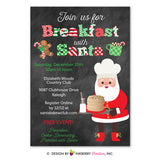 Breakfast with Santa Chalkboard Christmas Party Invitation, Kids Santa Breakfast, Pancakes, Milk (Printable File OR Printed Cardstock Cards)