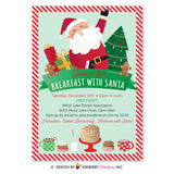 Breakfast with Santa Christmas Party Invitation - Kids Santa Breakfast, Pancakes, Cookies, Milk, Digital File OR Printed Cardstock Cards