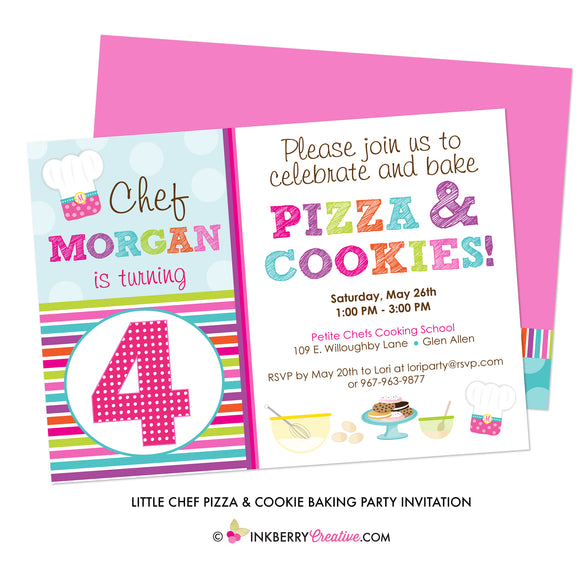Little Chef Pizza & Cookies Baking Birthday Party Invitation - inkberrycards