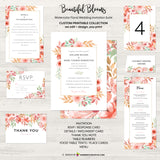 Beautiful Blooms - Watercolor Painted Floral Printable Wedding Collection - Custom Design, Printable Files, We Personalize, Edit - You Print - inkberrycards