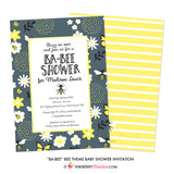 Be-Bee Gray and Yellow Bee Theme Baby Shower Invitation - inkberrycards