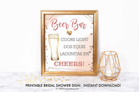 Bubbles and Brews Shower - Beer Bar Menu Sign - Printable, Editable