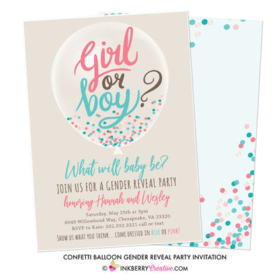 Confetti Balloon Gender Reveal Party Invitation - inkberrycards