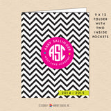 Black & White Chevron - Circle Monogram - Personalized Pocket Folder