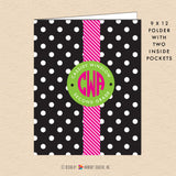 Black & White Polka Dot - Circle Monogram - Personalized Pocket Folder - inkberrycards