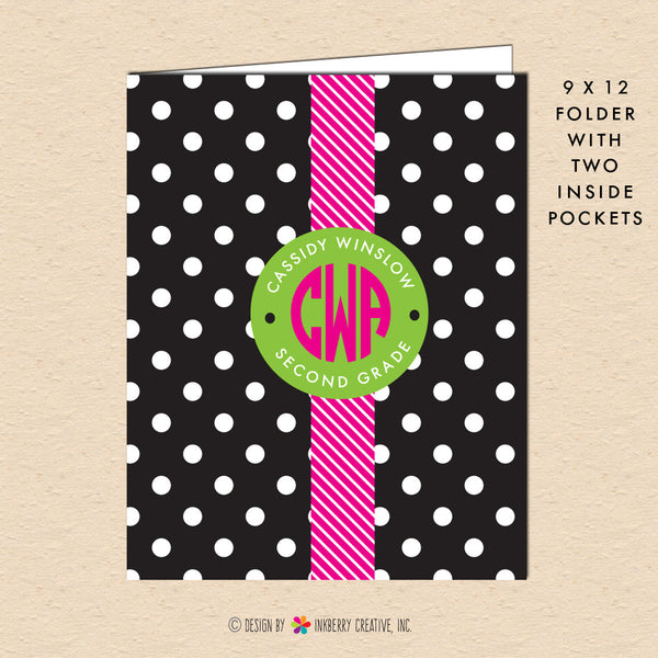 Black & White Polka Dot - Circle Monogram - Personalized Pocket Folder