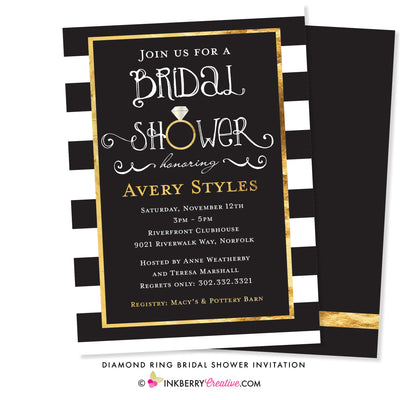 Black White and Gold Engagement Ring Bridal Shower Invitation - inkberrycards