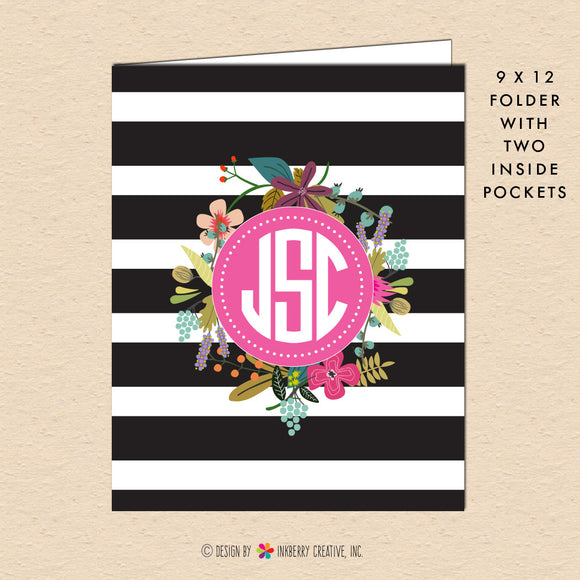 Black & White Stripe Floral - Circle Monogram - Personalized Pocket Folder - inkberrycards