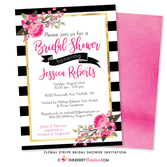 Black and White Stripe Pink Floral Bridal Shower Invitation