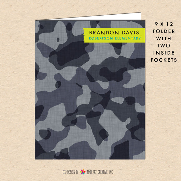 Gray Camouflage - Personalized Pocket Folder - inkberrycards