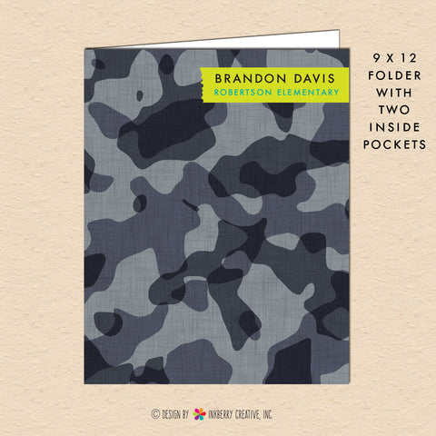Gray Camouflage - Personalized Pocket Folder